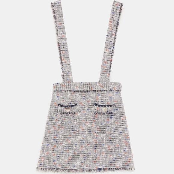 e2c9b839 Zara Skirts | Mini Skirt W Tweed Suspenders | Poshmark